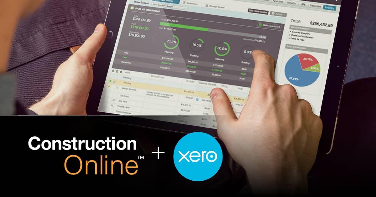 ConstructionOnline es Reconocido por su Integración con Xero